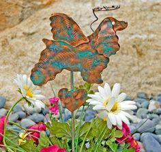 Cocker Spaniel Garden Stake / Pet Memorial / Garden Copper Art / Metal Yard Art / Angel Dog / Pet Grave Marker / Plant Stake / Lawn Ornament
