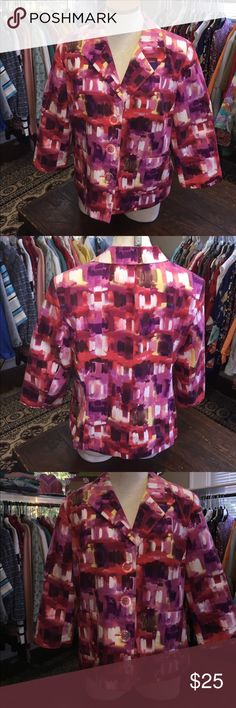 Awesome Kim Rogers abstract print Blazer This is a Kim Rogers blazer jacket.  This beautiful jacket has a lovely abstract print with a three button front closure.  This blazer also has two pockets on the front and a polyester lining. Kim Rogers Jackets & Coats Blazers