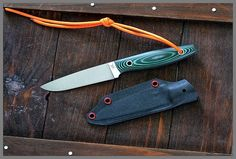 Simple and utility knife - Tuareg from Killrathi Knives steel – nw1, 3 mm length – 21,1 cm blade – 10,5cm handle – color linen micarta, red fibra sheath – kydex http://warshop.pl/en/killrathi-custom-knives/17-tuareg.html