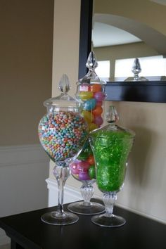Spring apothecary jar fillers. Could make a cute Easter table scape! by nadine