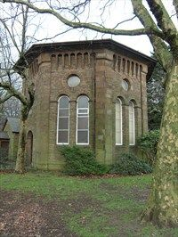 Octagonal Church, Port Talbot, Wales. The Beulah Calvinist Methodist Octagonal Chapel, built in 1838 in Groes village. Dismantled and rebuilt in 1976 in Tollgate Park in Margam, Port Talbot, Wales.