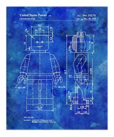 Blue Lego Toy Figure 1979 Art Print