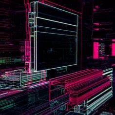 Automata Graphics: Industrial Neon Factory Automata Graphics aka Spencer Sterling is a man of many interests having studied architecture & graphic design. He is currently tackling computer science for visual media at university. He creates these. New Retro Wave, Retro Waves, Art Optical, Optical Illusions, Gifs, Motion Design, Acid Trip Art, Trippy Gif, Fractal Images