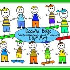 5 doodle boys on skateboards and 5 boys standing....   yes, they are 'doodles' so they may have slight imperfections :-)   You may use these boys i...