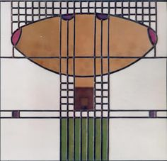 "Stained glass by Charles Rennie Mackintosh. He replaced the Art Nouveau ""whiplash"" with a vertical line. A central motif of Art Nouveau, the 'whiplash' curve is characterised by sinuous curves, usually based on an image or theme taken from nature. These curved, undulating, flowing lines are found throughout architecture, painting, sculpture, and other forms of Art Nouveau design"