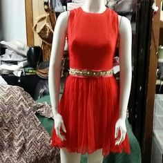 Vintage 60s Red Mini  Dress 60s dress red color with a waist belt with gold embroidered and faux pearls, back zipper, this have a little  holes at the back of the skirt but is not noticible  see the 4th picture to detail. REMEMBER THIS IS A VINTAGE FROM THE 60S PLEASE EXPECT SOMETHING BEAUTIFUL BUT DON'T EXPECT SOMETHING NEW FROM THIS TIME!! SEE DESCRIPTION BEFORE BUY IT!!! ASK FOR DETAILS!! MEASUREMENTS: armpit to armpit 17 inches laying flat. Waist laying flat 12 inches. From top to bottom…