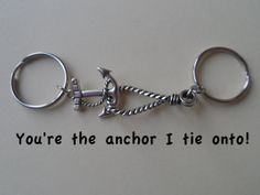 Anchor & Rope Key Chain Set, Couple Key Ring Gift, Husband Wife, Girlfriend Boyfriend, Best Friends, Monogram, Initial Option, Valentines Day Gift Ideas, Cards