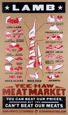 LAMB Meat Market Cuts Hand Printed Letterpress Poster by YeeHaw, $45.00