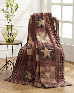 Quilted Throw Blanket Bradford Red Plaid Patchwork Country Quilt FREE SHIPPING #MarketStreet #RusticPrimitive
