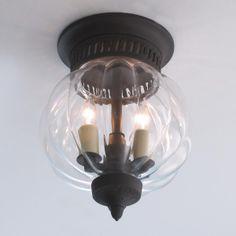 "Melon Glass Flush Ceiling Lantern 9.75""Hx7""W)"