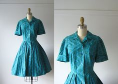 vintage 1950s dress / 50s dress / Blue Day Dreams by Dronning, $120.00