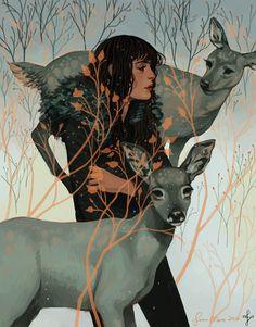 Sam Moss #illustration #girl #deer #nature #drawing #digital