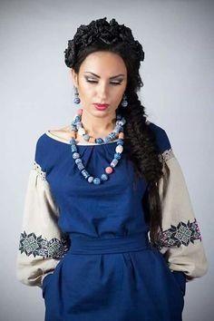 Ukraine, from Iryna Folk Fashion, Ethnic Fashion, Womens Fashion, Ukraine, Mode Mori, Ukrainian Dress, Blue And White Dress, Ethnic Outfits, Embroidered Clothes