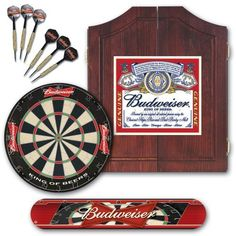 Budweiser® 99192 Label Dartboard and Cabinet Kit by Budweiser. $194.95. With everything you need to play the game of darts, the Budweiser Bristle Dartboard Package features coordinating items all celebrating your love of your favorite beer. This package includes an attractive pine cabinet with a Budweiser label on the doors, which open to reveal a premium tournament-quality bristle dartboard. The package includes two sets of brass darts and a Budweiser throw line, so you'll...