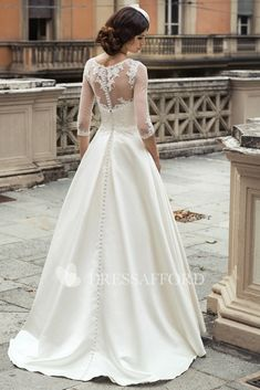 Scoop-neck 3-4-sleeve A-line Satin Dress With Appliques And Illusion