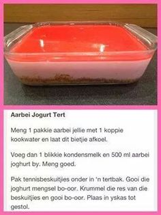Arbei jogurt tert Tart Recipes, Sweet Recipes, Baking Recipes, Snack Recipes, Cheesecake Recipes, South African Desserts, South African Recipes, Kos, Cold Desserts