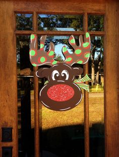 Rudolph the Red Nosed Reindeer Whimsical Holiday Christmas decoration door decor door wreath door hanger Boy or girl version polka dot antlers