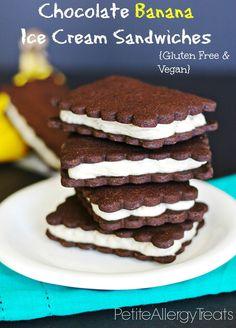 Dairy Free Banana Ice Cream Sandwiches Gluten Free and Vegan- PetiteAllergyTreats   Low fat treat using banana for 'ice cream' #glutenfree, #dairyfree, #chocolate,