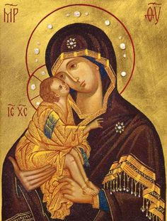 This icon of the Mother of God of the Don is made to order from ground gemstones of various colors Religious Images, Religious Icons, Religious Art, Paint Icon, Jesus Painting, Religious Paintings, Byzantine Icons, Madonna And Child, Catholic Art
