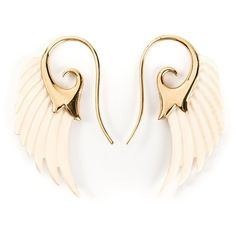 Noor Fares 18kt Yellow Gold Wing Earrings ($2,557) ❤ liked on Polyvore featuring jewelry, earrings, accessories, brincos, yellow gold earrings, earrings fine jewelry, wing jewelry, earrings jewelry and gold jewelry