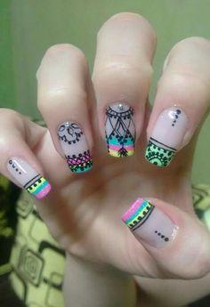 Nail Arts Cute Nail Art, Pretty Nail Art, Beautiful Nail Art, Glow Nails, Glitter Nails, Fun Nails, Purple And Pink Nails, Magic Nails, Dream Nails