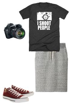 """I shoot people"" by lizardbeth95 ❤ liked on Polyvore featuring Eos, Uniqlo and Converse"