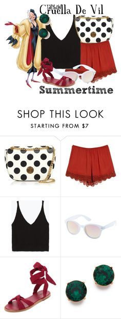 """Cruella De Vil"" by tallybow ❤ liked on Polyvore featuring Boutique Moschino, MANGO, Disney, Zara, Charlotte Russe, Zimmermann and Kenneth Jay Lane"
