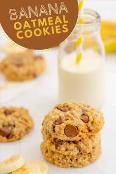 These banana oatmeal cookies are thick and soft, loaded with the goodness of oats, they are low in added sugar. The perfect cookie for kids. Oatmeal Cookies No Eggs, Low Sugar Cookies, Egg Free Cookies, Fruit Cookies, Banana Oatmeal Cookies, Oatmeal Cookie Recipes, Milk Cookies, Cookies For Kids, Healthy Cookies