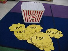 """Scroll down her blog under """"popcorn words"""" to see all the various activities.  Fun!  Where do I get popcorn boxes like these?"""