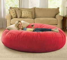 Giant Bean Bag Chair Lounger.. This would be great for lounging for reading in a little corner