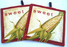 Set of Two Pot Holders featuring Summer Corn