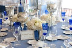 cobalt, gold and mercury glass for table setting