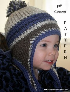 Crochet Pattern Kids Mountain Jam Earflap Hat $4.99