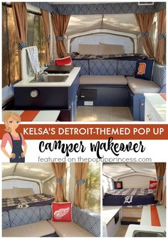 Kelso took her love of all things Detroit and turned it into a fun, sporty theme for her pop up camper remodel.  Simply amazing!