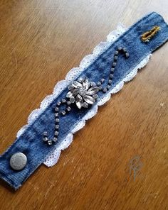 Denim Lace with Rhinestones Cuff Bracelet by RepurposedRelicsTX #jewelry #upcycled