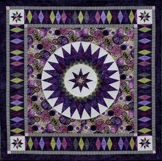 """Purple Passion"", 62 x 62"", star and diamonds quilt pattern by Jacqueline de Jonge 