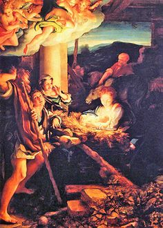 Antonio Allegri of Correggio, Italy, known as Correggio - Holy Night (Nativity), Gemaldegalerie, Dresden, Germany, ~1530. Good Shepard, Our Savior, Son Of God, Holy Night, Christian Faith, Jesus Christ, Dresden Germany, Painting, Art