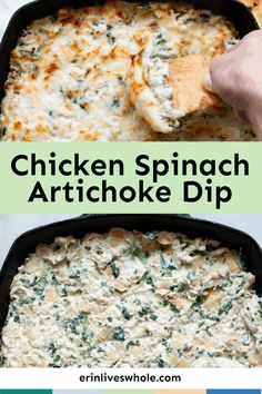Give your tastebuds a treat with this Chicken Spinach Artichoke Dip. Made with cream cheese, mozzarella, and parmesan, this creamy, cheesy dip is a total game changer! Healthy Appetizers, Appetizer Dips, Cream Cheese Chicken, Spinach Artichoke Dip, Spinach Stuffed Chicken, Feeding A Crowd, Game Changer, Dip Recipes, Finger Foods