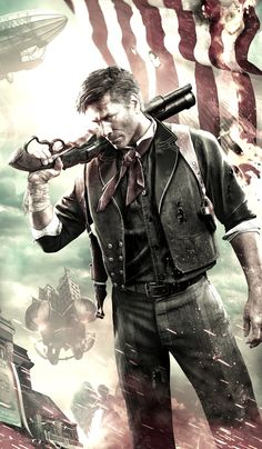 Booker DeWitt - Bioshock Infinite, that's the 3rd game that I was telling you about, with heavy steampunk influences.