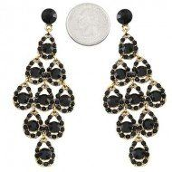 """Amazon.com: Designer Inspired Chandelier Earring / Color: Black / Rhinestones / Gold Plated / Length: 3 1/4"""": Jewelry"""