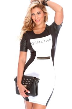 Slinky, sexy, and trendy this dress has it all for the fashionista that wants to be seen! This dress is perfect for a girls night out, youll want to to wear it tonight and show off your body in all the right places! It features two tone, faux leather trim, graphic design, front zipper accent, short sleeves, and tight fitted.