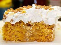 Pumpkin Better Than Sex Cake (try with Spice cake mix, and possibly pumpkin pie filling, two whisked eggs) Use whipped cream on top instead of cool whip.