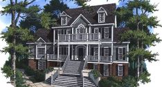 Greetings and welcome are understood as you approach this elegant Low Country design.  The dramatic staircase ascends to the front porch disguising its raised foundation.