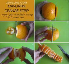 Mandarine schneiden und anbieten......