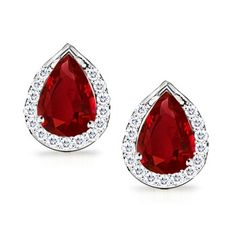 Angara Pear Natural Ruby and Diamond Halo Stud Earrings in Rose Gold hXqZxX5eww