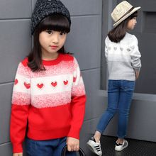 New Cotton Girls Sweaters Preppy Fashion Style Students Sweaters Girls Clothing Children Christmas Clothes Kids Winter Bottoming(China (Mainland))