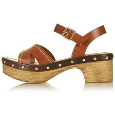 TopShop Viv Two-Part Clog Sandals ($80) ❤ liked on Polyvore featuring shoes, genuine leather shoes, leather peep toe shoes, clog shoes, tan shoes and studded clogs