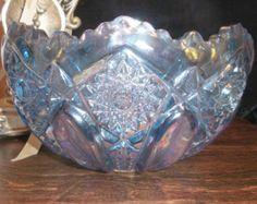 Iridescent Cut-Glass Serving Bowl
