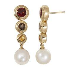 14k Gold Honora Pearl And Multi Gemstone Drop Dangle Earrings Hanging