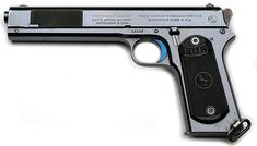 """Colt Model 1902 Military .38 ACP Serial Number 13908 - This pistol was manufactured late in 1903.  Finish is high polish blue with fire blue small parts and checkered black hard rubber grips.  The hammer and lanyard loop are color case hardened.  It is one of approximately 3200 guns with the early style """"nail file"""" type checkered front slide serrations."""